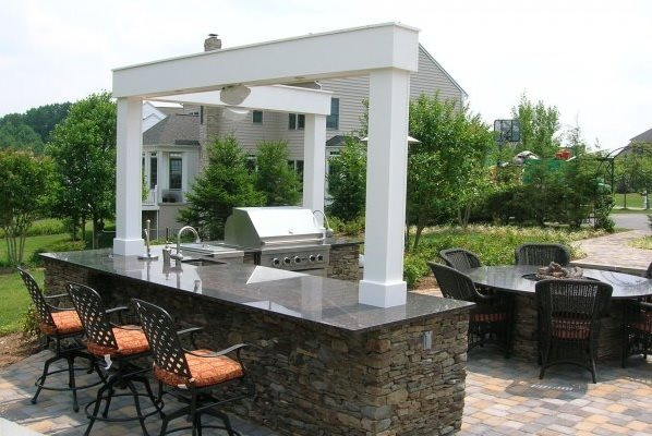 l shaped outdoor kitchen Outdoor Kitchen - Woodbine, MD - Photo Gallery - Landscaping Network