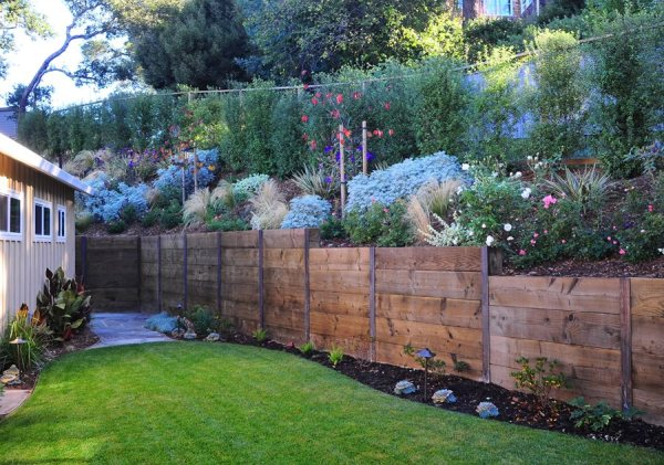 wooden retaining walls - landscaping