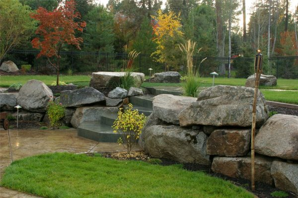dry stacked stone walls - landscaping
