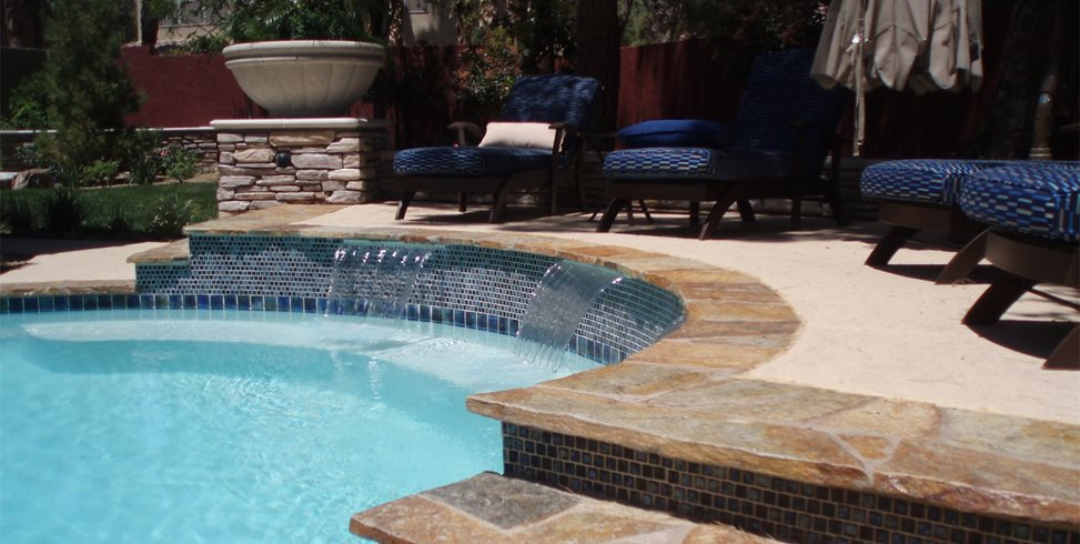 Flagstone Coping, Waterfalls, Blue Tile Newtex Landscape, Inc. Henderson, NV