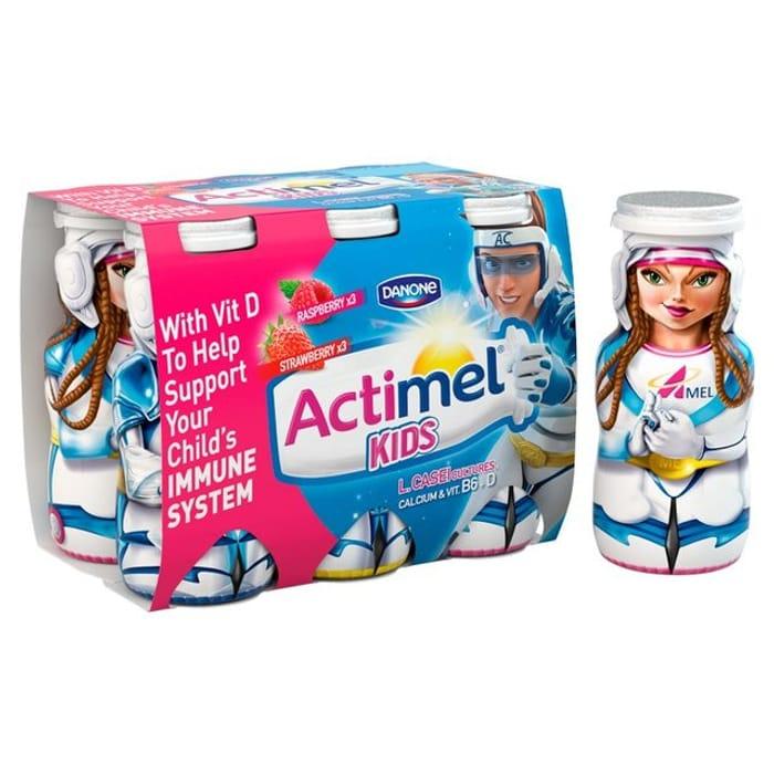 Actimel Kids Strawberry & Raspberry Yogurt Drinks 6 X 100g ...