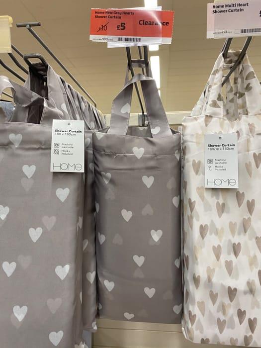 grey hearts shower curtain half price
