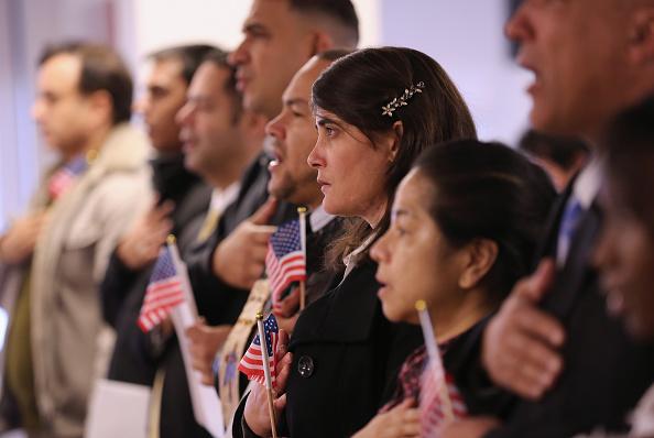 Immigrants becoming U.S. citizens ceremony