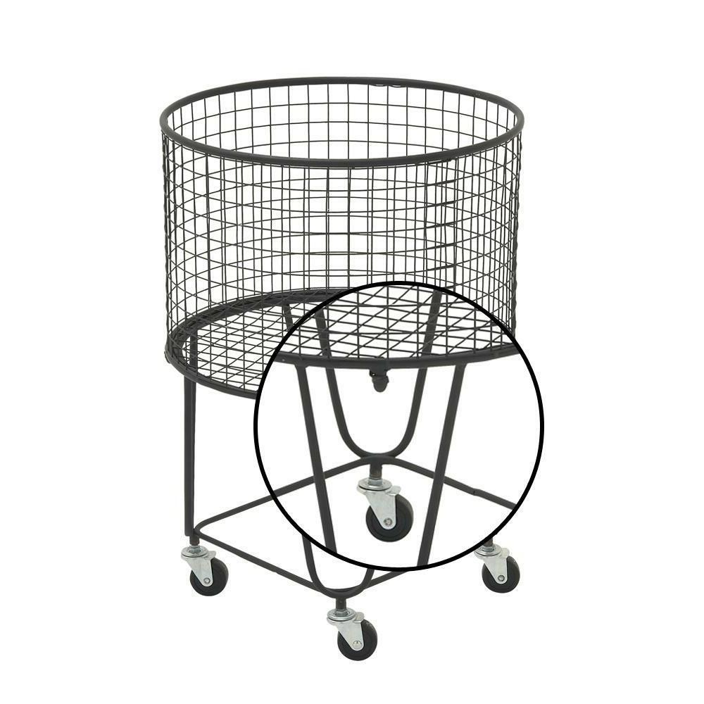 Rolling Metal Wire Laundry Basket Clothes Hamper Storage