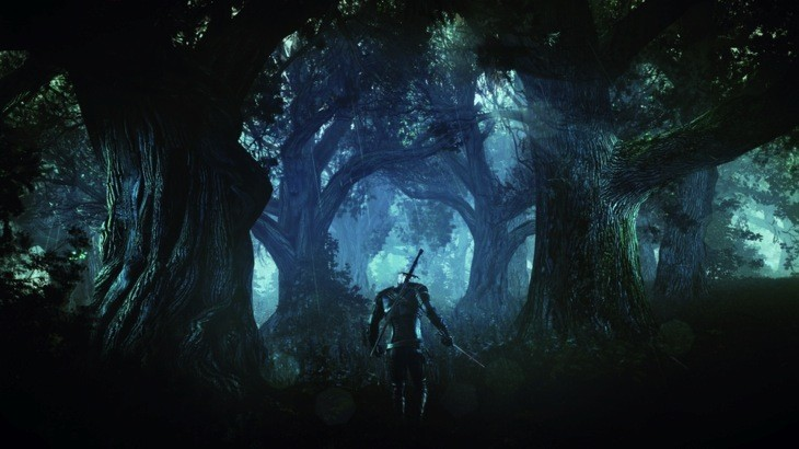The witcher 3 wild hunt geralt alone in a deep and dark forest psd jpgcopy