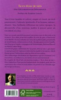 Je Suis Donc Tu Es : Déclaration, Dépendance, Satish, Kumar, Essais, Philosophie/, Métaphysique, Leslibraires.ca