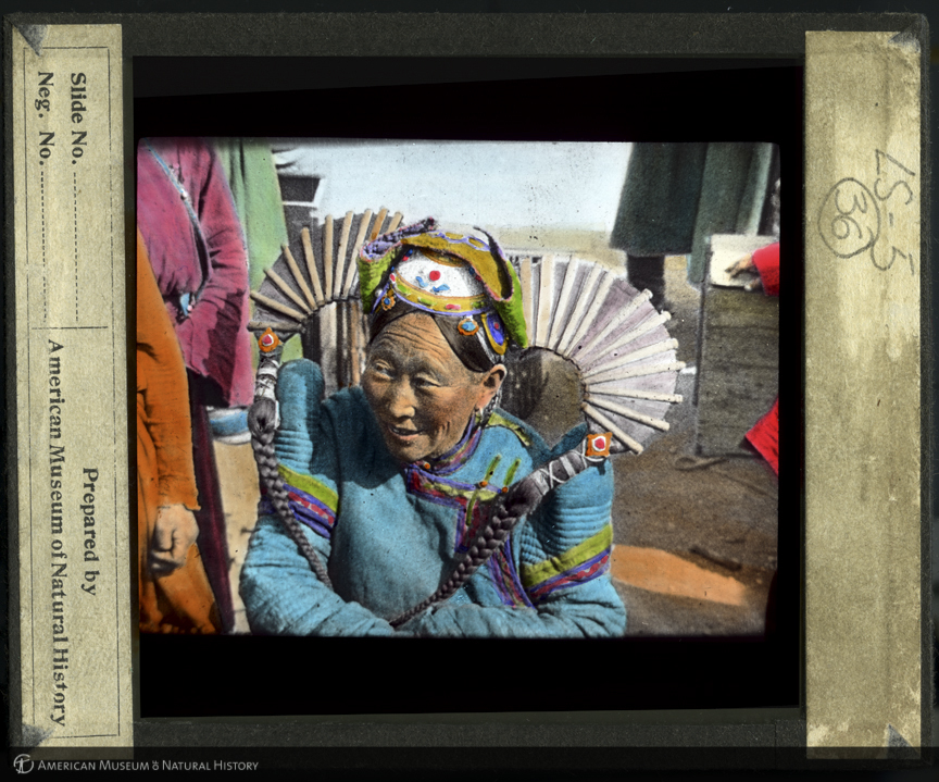 ID: LS5-36<br>Woman wearing headdress, Mongolia