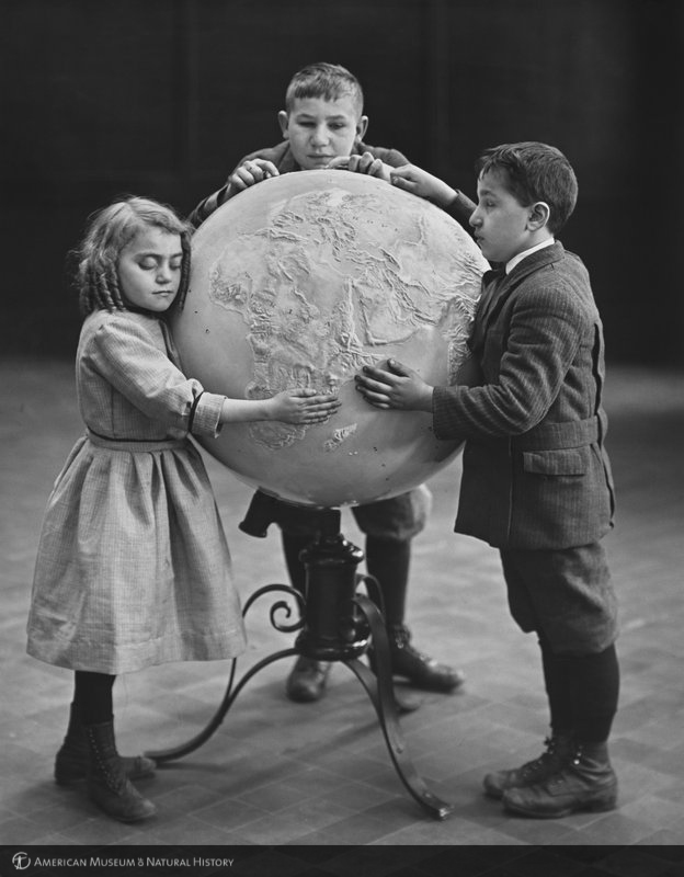 ID: 335068<br>Children studying relief globe, 1914
