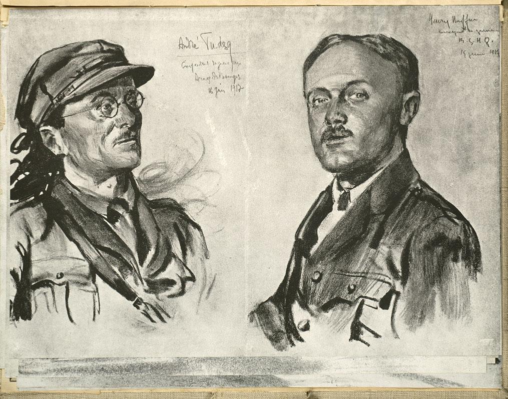Croquis de Lucien Jonas.André Tudesq [et] Henry Ruffin, correspondants de guerre du Journal au grand quartier anglais de l'Agence Havas.