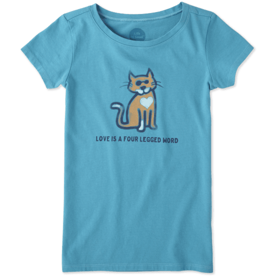 Girls Four Legged Word Cat Crusher Tee