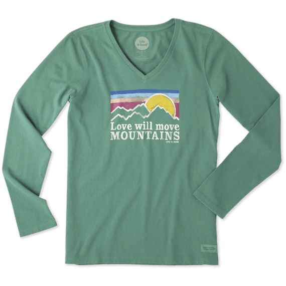 Women's Love Moves Mountains Long Sleeve Crusher Vee