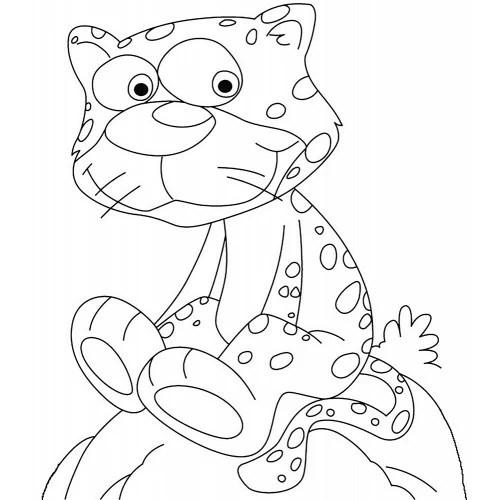 Cheetah on Rock Cardboard Coloring Cutout