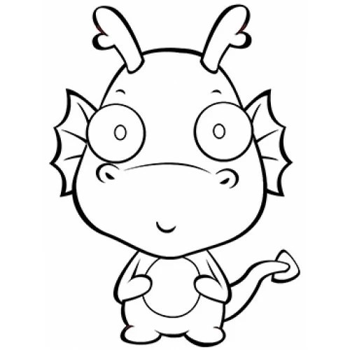 Baby Dragon Cardboard Coloring Cutout