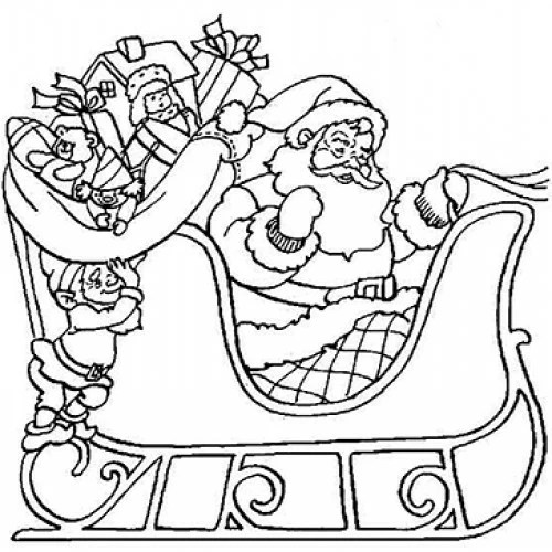 Santa-In-Sleigh Cardboard Coloring Cutout
