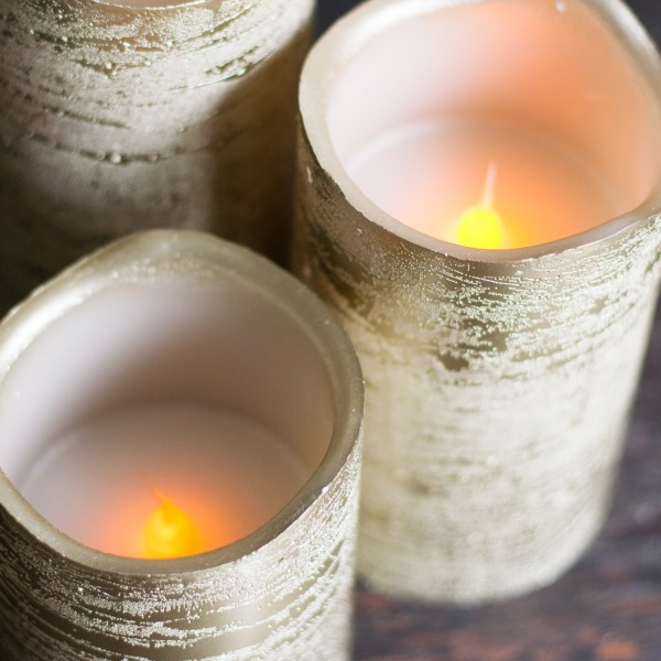Gold Flameless Pillar Candles