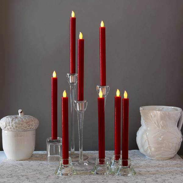 Lightscom Flameless Candles Taper Candles Burgundy
