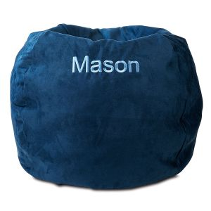 blue bean bag chairs outside pub table and personalized for kids lillian vernon navy chair
