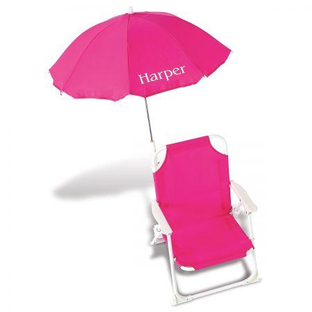 pink beach chair bruno stair lift chairs child size umbrella 817060a lillian vernon