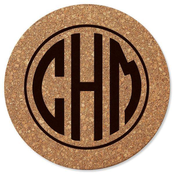 Circle Monogram Personalized Cork Trivet Lillian