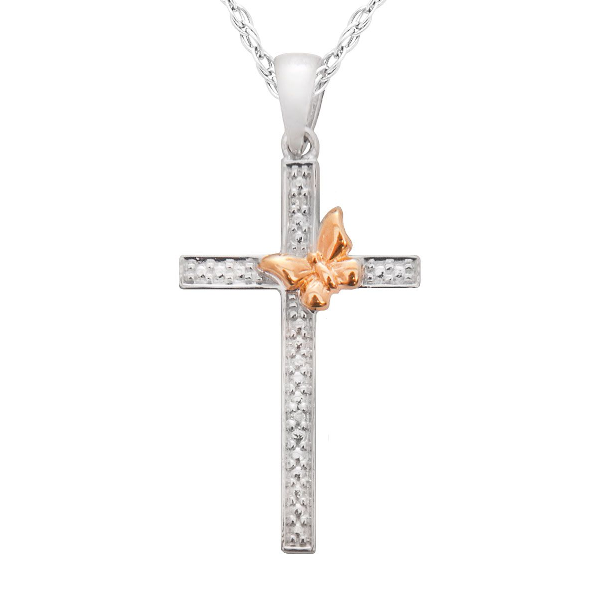Diamond Accent Cross Butterfly Pendant With 18 Chain
