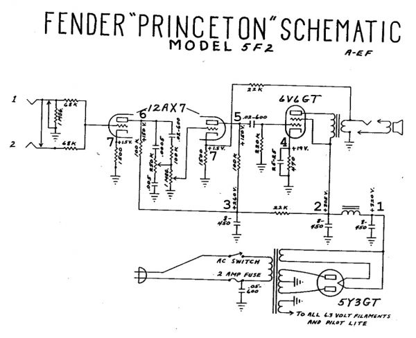 Fender 5f2 Princeton Schematic
