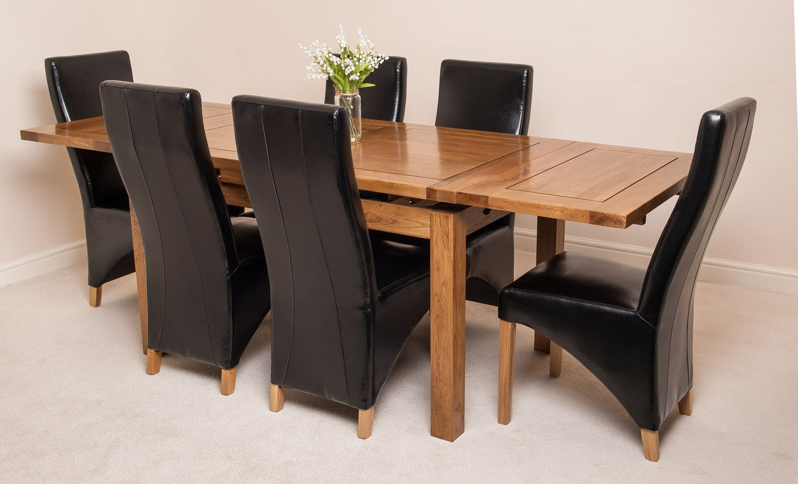 oak farmhouse chairs office waiting room rustic solid 160cm extending dining table