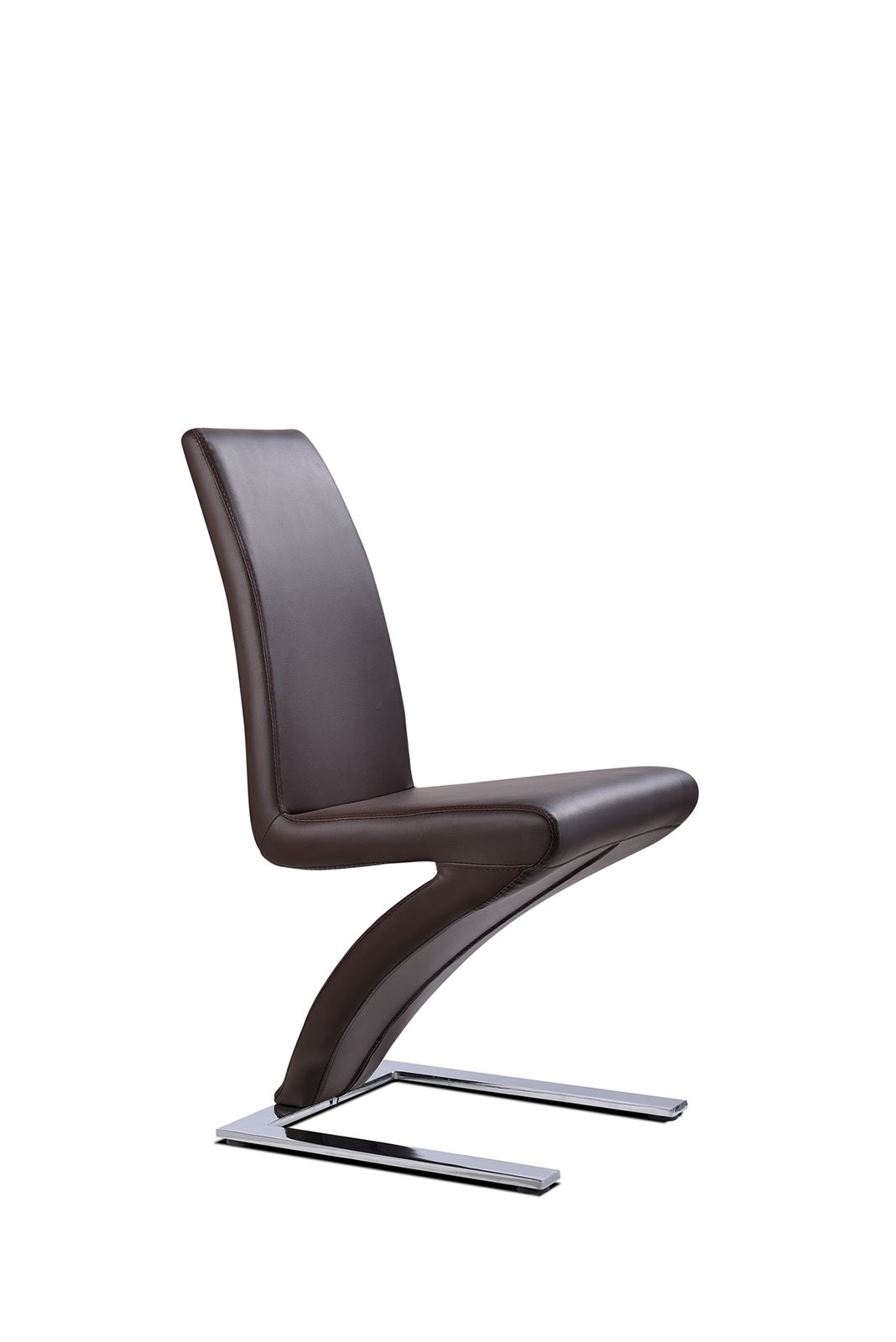 metal frame leather dining chair floating lawn z black faux room chairs kitchen furniture