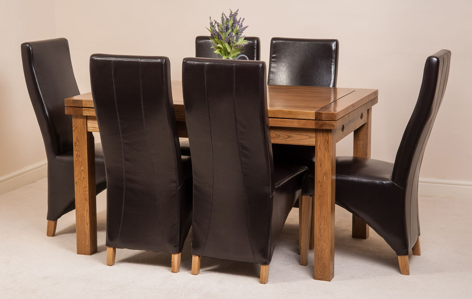 oak farmhouse chairs modern dining for sale rustic solid 160cm extending table