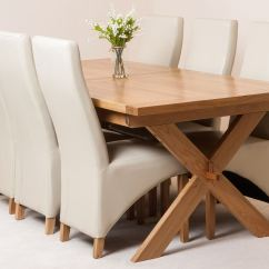 Ivory Dining Chairs Uk High Chair Cushions For Wooden Vermont Extending Kitchen Solid Oak Table And 6