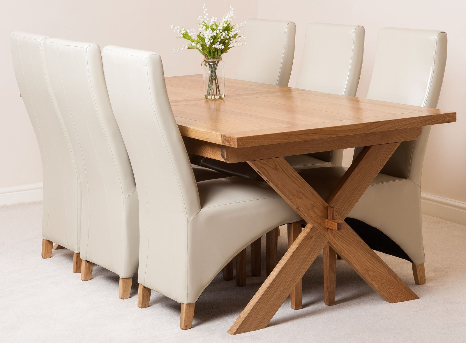 Ivory Dining Chairs Vermont Extending Kitchen Solid Oak Dining Table And 6