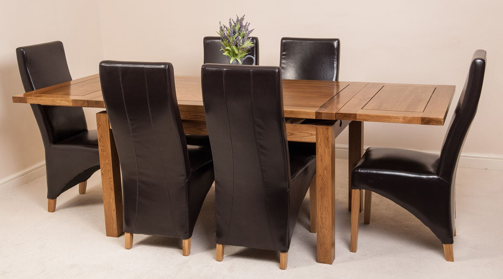 oak farmhouse chairs chair covers on wish rustic solid 160cm extending dining table