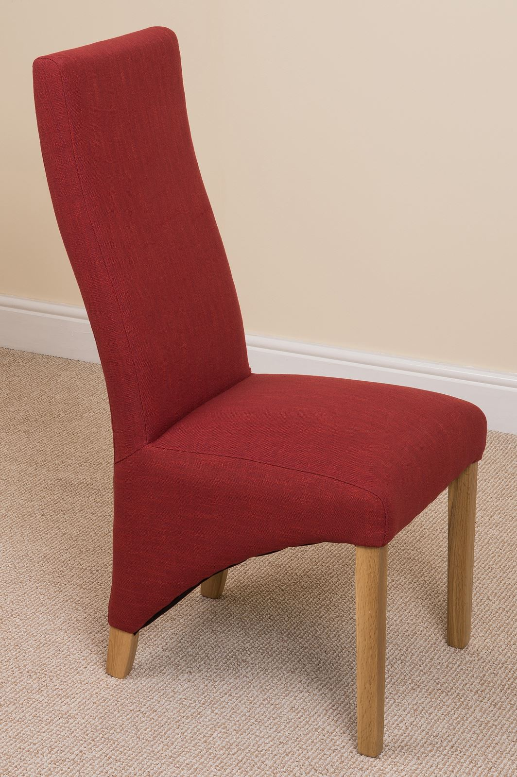 Lola Curved Back Red Fabric Dining Room Kitchen Chairs