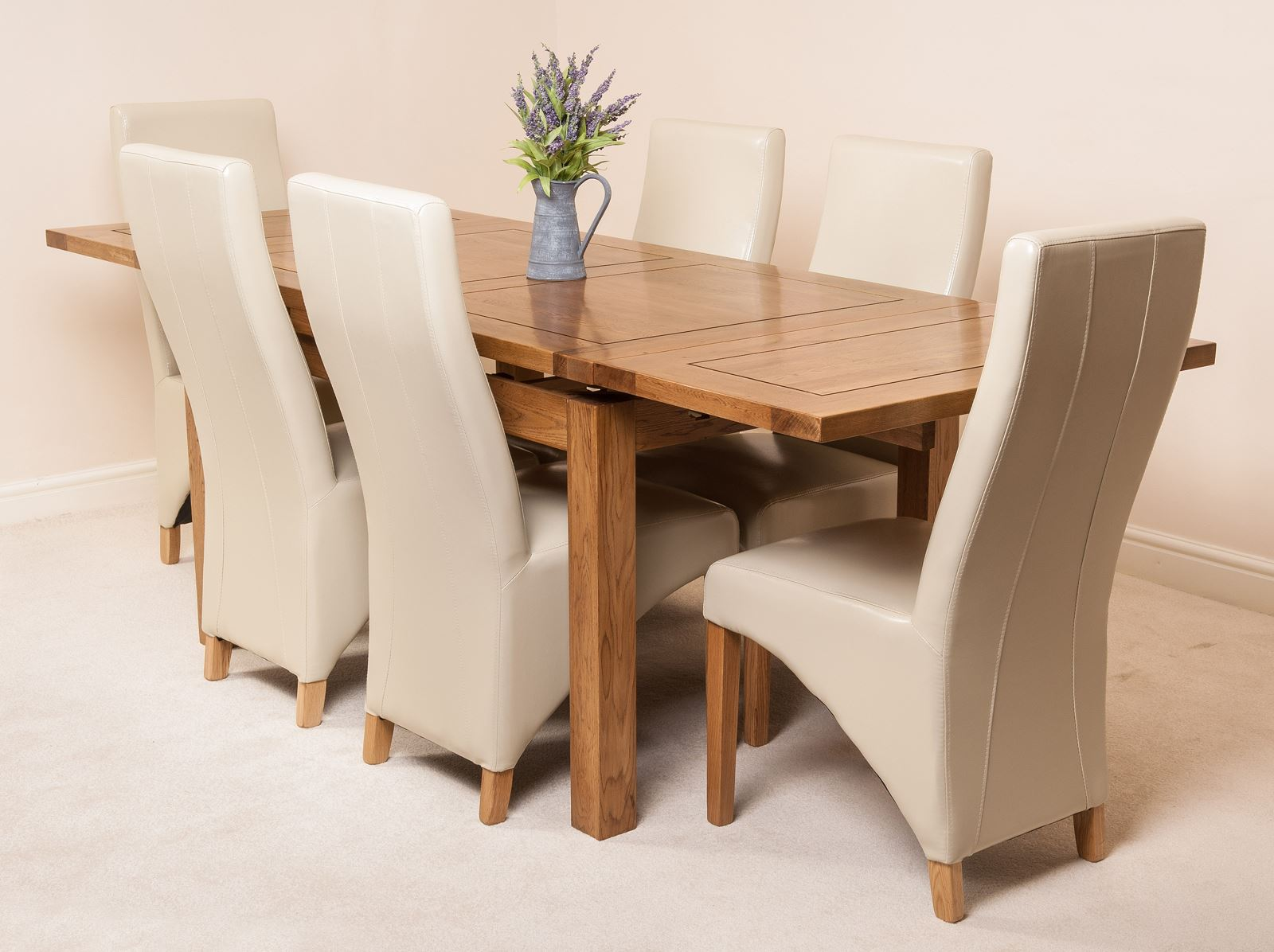 oak farmhouse chairs upholstered parsons dining rustic solid 160cm extending table