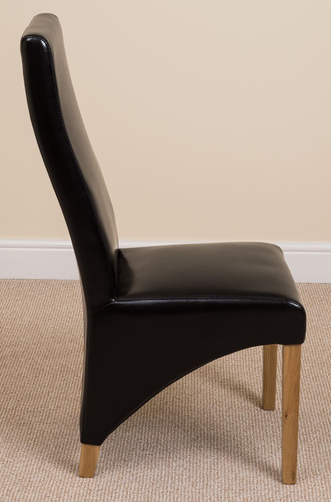 leather kitchen chairs parsons lola curved back brown dining room