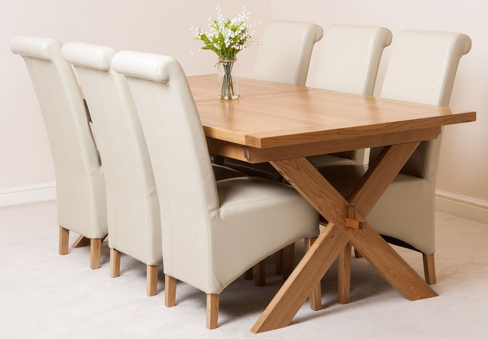 ivory dining chairs uk vinyl posture task chair vermont solid oak extending room table and 6