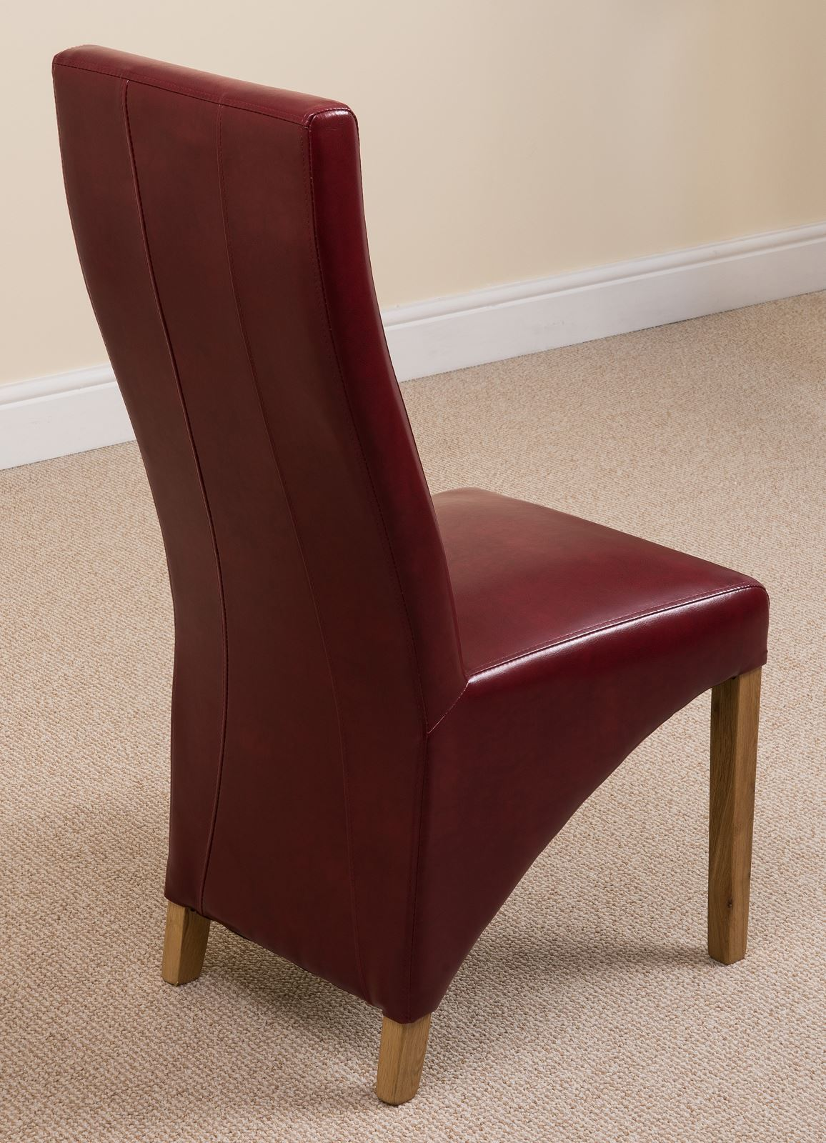 leather kitchen chairs karlstad armchair slipcover lola curved back red dining room