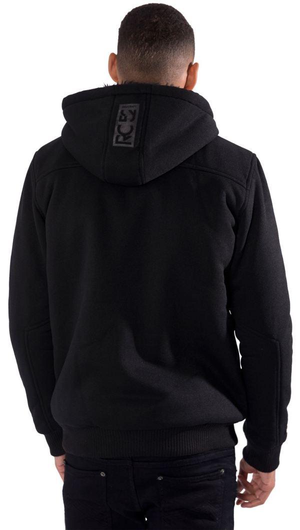 Mens Hooded Jacket Hoodie Fur Hood Button Zip