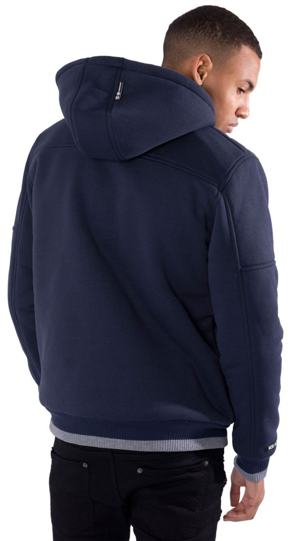 Mens Hoodie Fur Lined Hood Jacket Zip Buttons