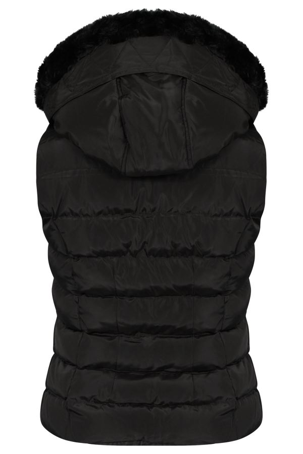 Womens Quilted Winter Faux Hooded Gilet Vest Fur Jacket Puffer Coat Uk -xl