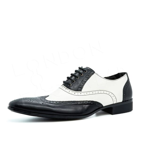 Mens Two Tone Gangster Patent Leather Brogues Wingtip