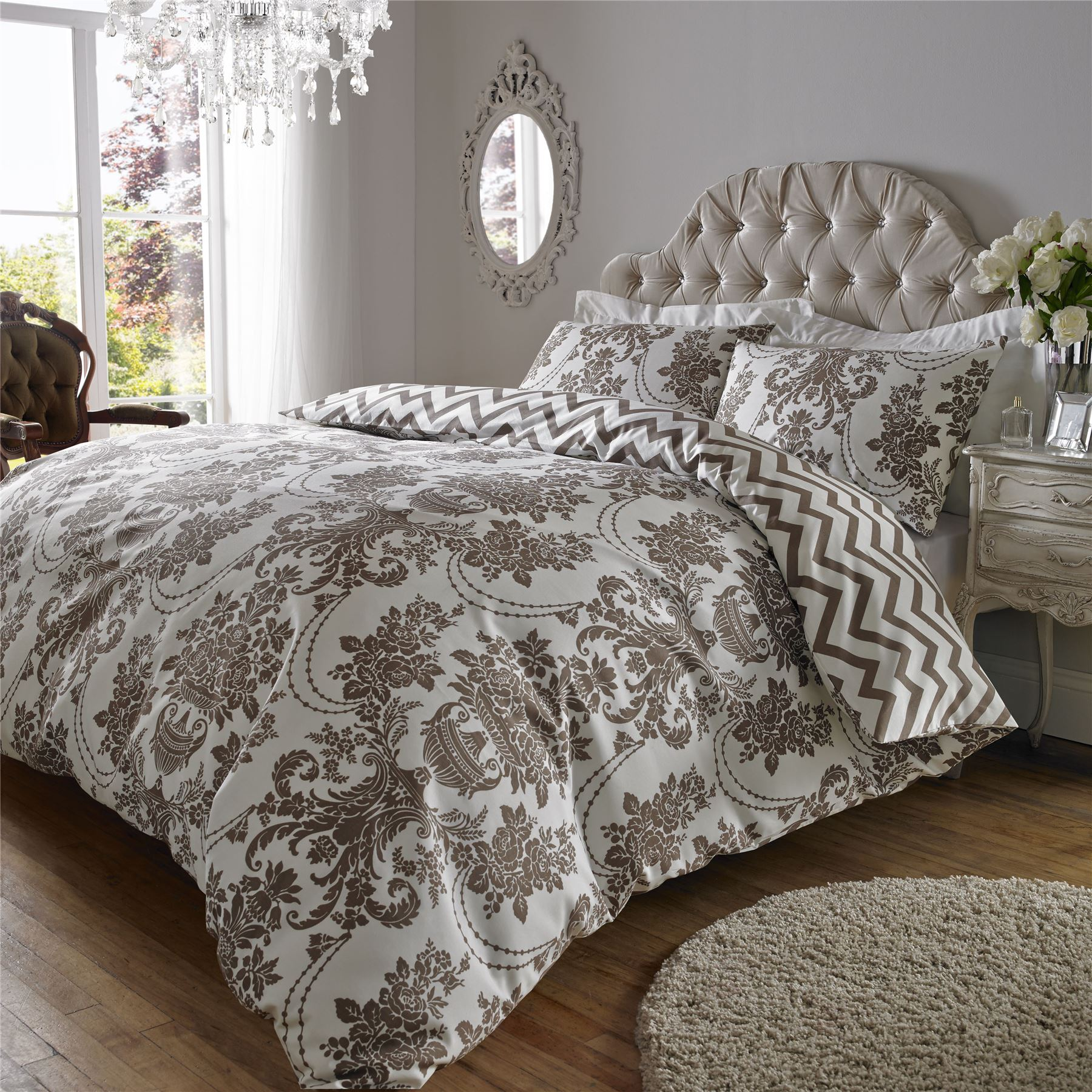 200tc Damask Print Cotton Rich Duvet Quilt Cover Bedding