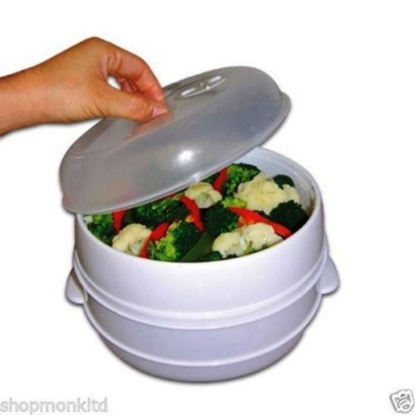 2 Tier Microwave Vegetable Steamer Cooker Healthy