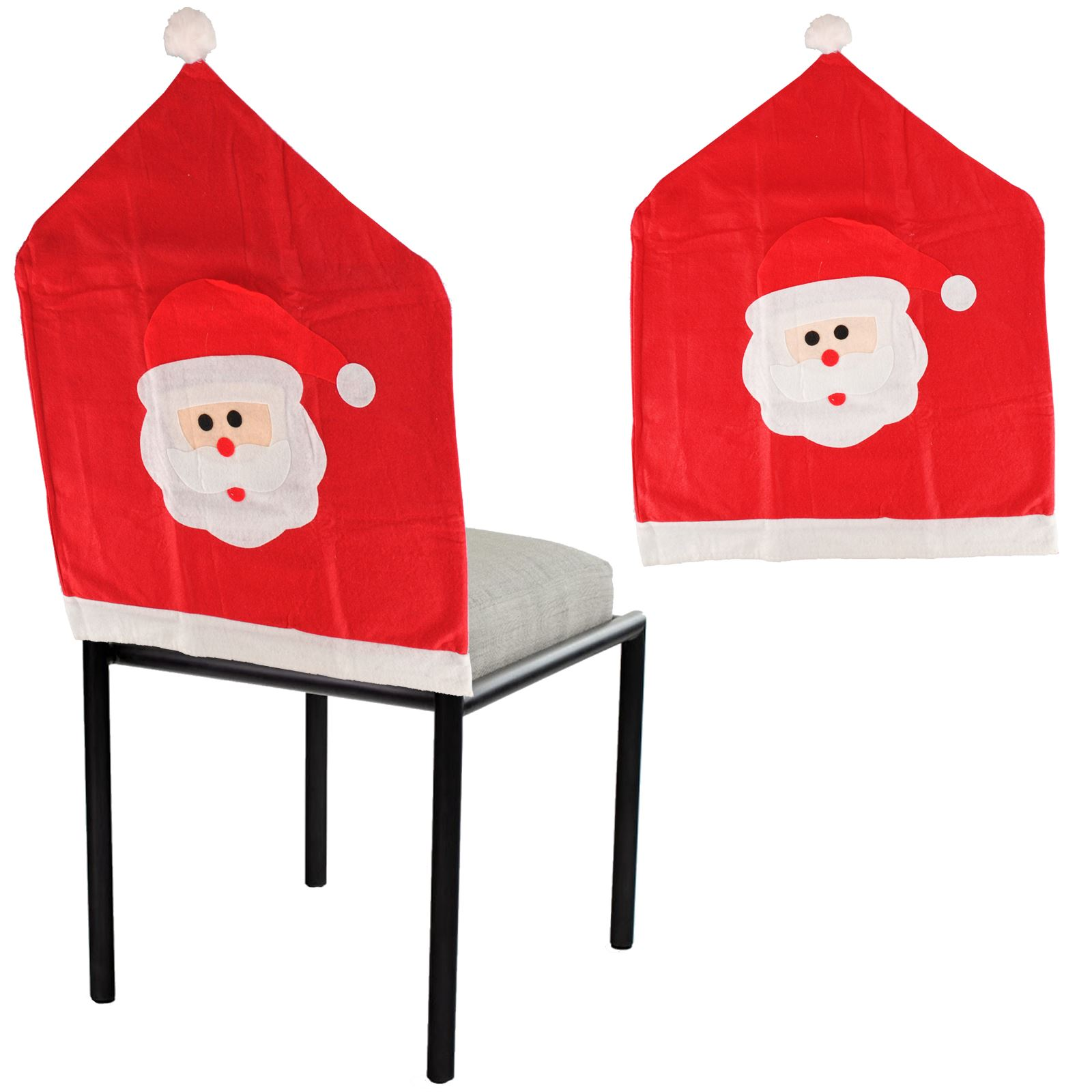 santa chair covers sets office carpet protector christmas face bobble hat felt dining cover