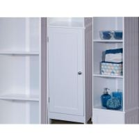 Tall White Wooden Bathroom Storage Cabinet Freestanding ...