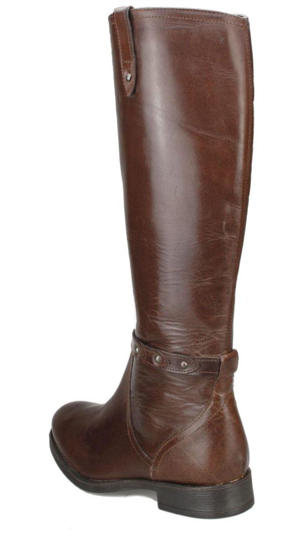 Ladies Real Leather Knee High Black Brown Block Heel Womens Zip Boots Cowboy