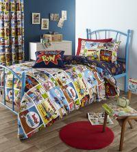 Comic Strip Kids Childrens Boys Geek Super Hero Bedding ...