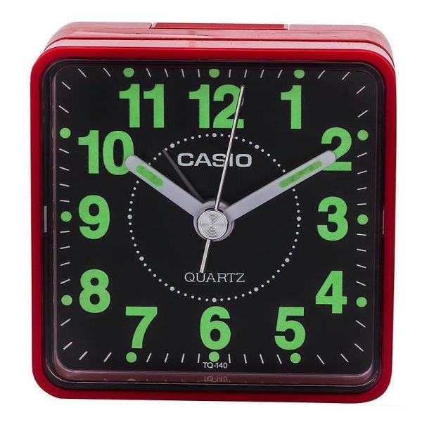 Casio Tq140-4 Red Black Neobrite Analogue Beep Travel Alarm Clock Tq-140-4ef