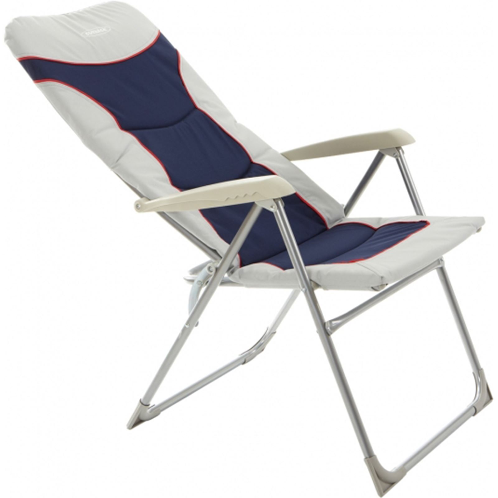 Folding Camping High Chair Outback High Back Recliner Folding Chair Blue Silver