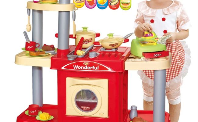 Childrens Kids Pretend Play Fast Food Kitchen Cooking