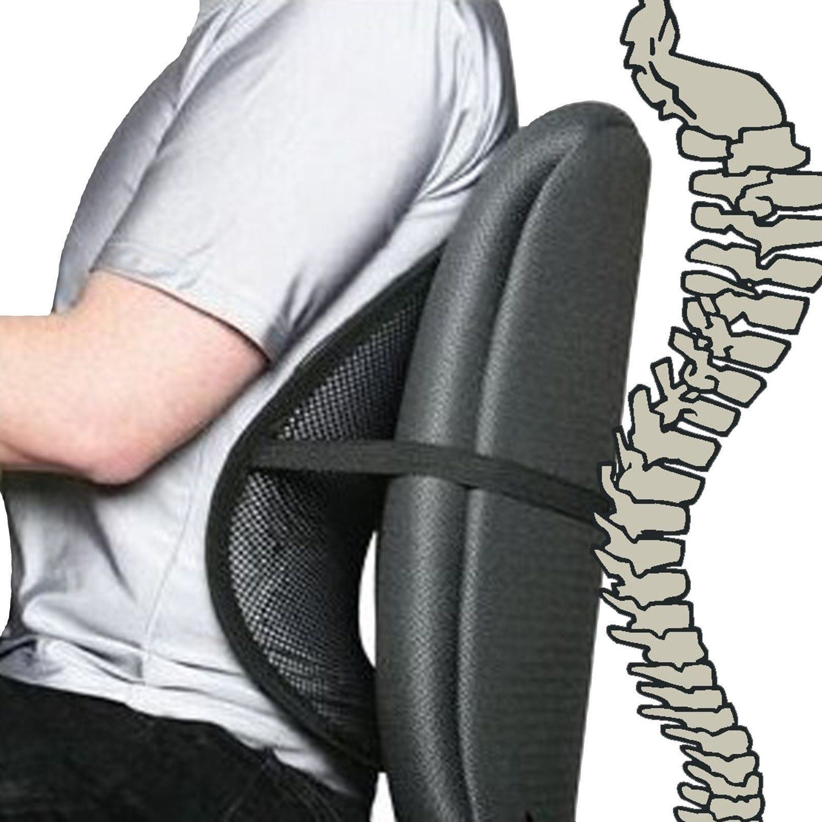Back Support Chair Black Cool Air Back Mesh Lumbar Home Office Car Seat Chair